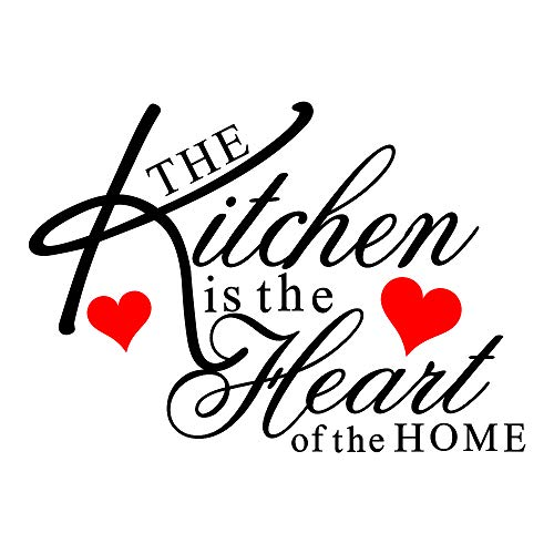 Witkey The Kitchen is The Heart of The Home Red Heart Wall Decal Sticker Art Mural Home Décor Quote DIY