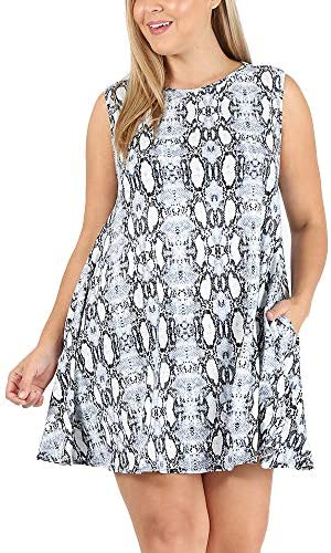 LoveCurvy D126 Plus Size Women s Round Neck Sleeveless Solid Multi Print Flowy Knit Dress W product image