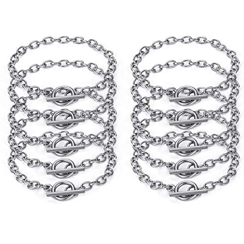 JIAYIQI 10 Pcs Chain Bracelet for Jewelry Making with OT Toggle Clasp Stainless Steel Chain Link Bracelet Trendy Dainty for Women Gift 7.5 Inches