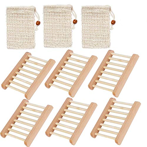 Wooden Soap Dishes For Bathroom Box Natural Wood Value 6 Pack With 3 PCS Soap Exfoliating Bag, Soap Holder Rack Water Draining Design Natural Bamboo Soap (6 Pack+3 Pcs Soap Bags, Natural Wood)