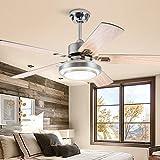 Luz de ventilador de acero inoxidable Luz de ventilador de techo de restaurante de 42 pulgadas / 52 pulgadas Luz de ventilador de sala Luz de ventilador de hoja LED de madera LED-Wood material-132CM