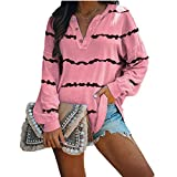 OutTop Women Long Sleeve Tees Shirt Winter Casual Striped Loose Fit Drawstring Button Down T Shirt Blouse Top Pullover (Pink, S)