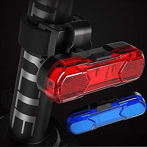 SXKJ Luz Trasera de Bicicleta (2 pcs), Luz de Destello de Seguridad USB Recargable Ultra Brillante LED Roja/Azul Fácil de Instalar de Alta para Bici de Carretera, 8 Horas de Autonomía