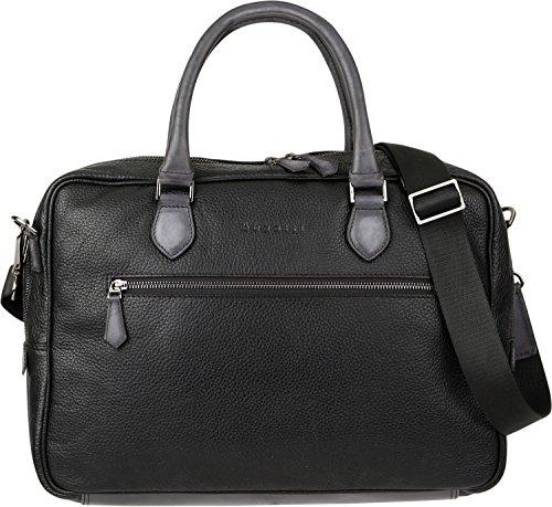 Bugatti Citta Leder Businesstasche für Damen und Herren mit 15' Laptopfach, Arbeitstasche Aktentasche Große Bürotasche, Schwarz