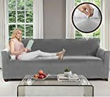 GORILLA GRIP Original Fitted Velvet 1 Piece X-Large Oversized Sofa Protector, Seat Width up to 78 Inch, Stretch Furniture Slipcover, Fastener Straps, Spandex Couch Slip Cover Throw for Dog, Sofa, Gray