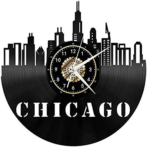 CHANGWW Schallplatte Wanduhr Chicago City Art Deco Original Einzigartige Dekoration Geschenk mit Led