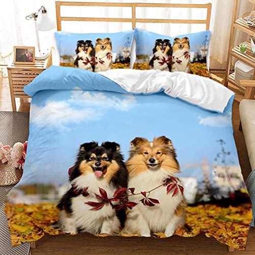 QIAOJIN Juego de ropa de cama 3D de gatos y perros, 100% microfibra, estampado de animales en 3D, bonita funda nórdica y funda de almohada con cremallera, para niños y niñas (altura: 200 x 200 cm)