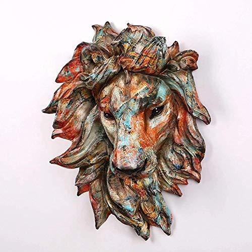 OH Ornamento Resina Faux Lion Head Wall Colgando Faux Taxidermy, Cabeza Animal Decoración de la Pared Esculturas, Figuras de Decoración de Granja Hecha a Mano Retro
