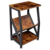 NXN-HOME Industrial Side Table, Record Player Stand with Storage Shelf for Coffee Books Magazines, Wood Look Accent Furniture with Metal Frame