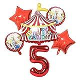 JSJJATF Globos Red Circus Cumpleaños Tienda de campaña Globos Set de 32 Pulgadas Foil Número Globos Tema de Animal Partido Decoraciones de Fiesta de cumpleaños para niños (Color : 5)