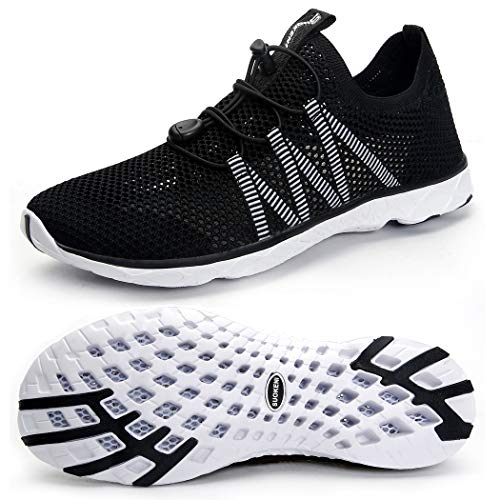 SUOKENI Men's Quick Drying Slip On Water Shoes for Beach or Water Sports Black/White,Size:US 12/EU 46