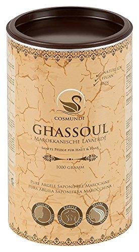 cosmundi Rhassoul - pure poudre d`argile saponifère marocaine 1 kg - soins naturels pour la peau et les cheveux & masque ou peeling pur corps et visage