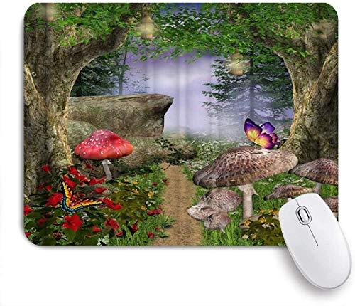 Gedruckte Mauspad Fantasie Wald grüner Baum Pilz Blume Schmetterling Wiese Fee Laterne Nachthimmel Natur, dekorative Mousepad für Game Players Office, Schreibtisch Dekor