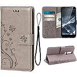 Teebo Hülle für Nokia 5.1 Schutzhülle aus PU Leder Handyhülle mit geprägtem Schmetterling-Muster Kartenfach und Magnetverschluss grau