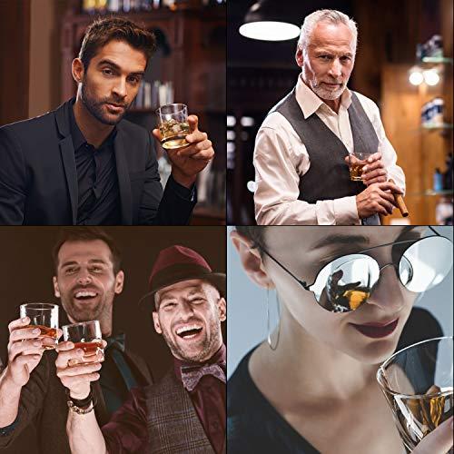 PEMOTech Whisky Steine, 9 Paare Granit-Drink-Rocks, 1 Edelstahlclip und 2 Untersetzer, verpackt in Einer exklusiven hölzernen Geschenk-Tasche und Samt-Tasche, Männer im Winter - 6