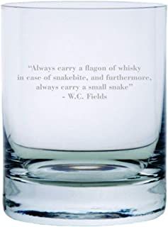 W.C. Fields Quote Etched Crystal Rocks Whisky Glass