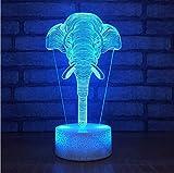 XINGXIAOYU 7 Farbwechsel 3D Delusion Elefant Form Nachtlichter Led Schreibtisch Tischlampe Für Hauptdekoration Lampe Kinder Schlafen Lightg