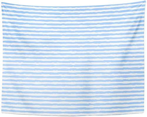 zzxywh Tapiz Línea Azul Marino Rayas Blancas y Azules Acuarela Resumen Tapices para bebés Colgante de Pared para Sala de Estar Dormitorio Dormitorio 130 × 150 cm
