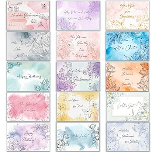 Geburtstagskarte Glückwunschkarten Set mit 15 Geburtstagskarten Klappkarten mit Umschlägen Aquarell Zart Pastell Happy Birthday Alles Gute Geburtstags Alles Liebe