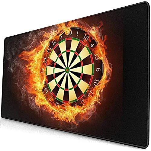 Mauspad,Flaming Dartboard Fire Dart Board Robuste, Komfortable Und Rutschfeste Gaming-Pads Für Die Dekoration Von Bürocomputern 40*75cm