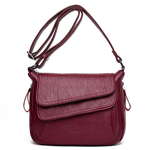 LYDIANZI Handtasche PU-Leder-Schulter-Schul Mode Wildledertasche Weinlese-beiläufige Beutel-Schulter-Umhängetasche Tasche weich glattes Rot