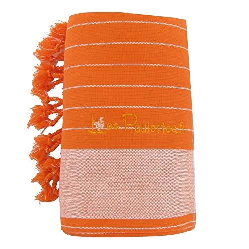 LES POULETTES Kikoy Toalla de Playa de Algodón - Color Naranja con Rayas Blanca