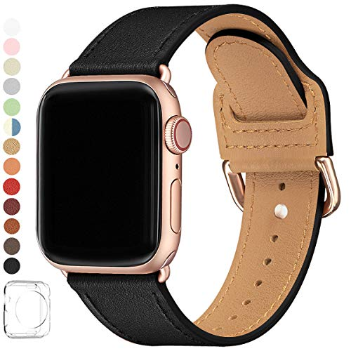 POWER PRIMACY Bands Compatible with Apple Watch Band 38mm 40mm 42mm 44mm, Top Grain Leather Smart Watch Strap Compatible for Men Women iWatch Series 6 5 4 3 2 1,SE (Black/Rosegold, 38mm/40mm)