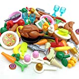 ZHX 82PCS Foods Building Blocks Sets Hot Dog Pizza Turkey Cream Food Set Fruit Bricks Toys City...