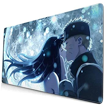 Anime Naruto Hinata Hyuga&Naruto Uzumaki Mouse Pad Laptop Non-Slip Rubber Base Extension Game Large Mouse Pad Office Home Gamer 15.8x29.5in