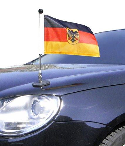 DIPLOMAT magnetisch haftender Autofahnen-Ständer 1 Deutschland mit Dienst-Wappen mit Super-Magnet für Ihre Autoflaggen - Auto Fahne & Flagge