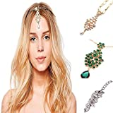 3Pcs Gold Head Chain Accessories Indian Bohemian Bollywood Jewelry for Women Headbands Headpiece