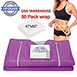 Sauna Blanket, Digital Far-Infrared Heat Sauna Blanket with 50pcs Plastic Sheetings, 2 Zone Sauna Slimming Blanket, Weight Loss Detox Therapy Anti Ageing Beauty Machine (Upgraded Version Purple)