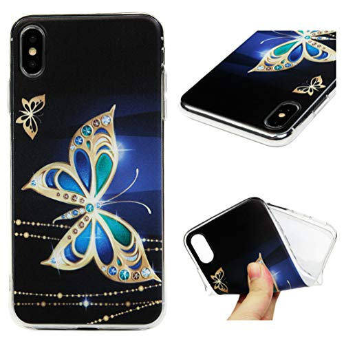 iPhone Xs Max 6.5 Case, MOTIKO Clear Transparent Gold Butterfly Painted Gel Silicone Shock Absorption Bumper Soft Flexible Rubber TPU Anti-Scratch Clear Back Protective Cover for iPhone Xs Max 6.5
