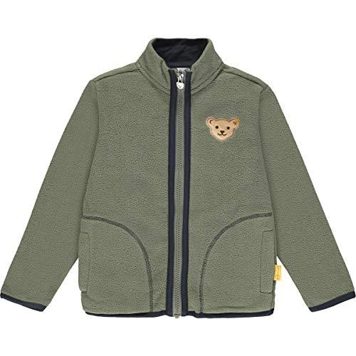 Steiff Jungen mit süßer Teddybärapplikation Sweatshirt Fleece, Dusty Olive, 116