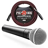 Shure SM58 Cardioid Vocal Microphone & Pig Hog Mic Cable, 20ft XLR - Bundle (Red)