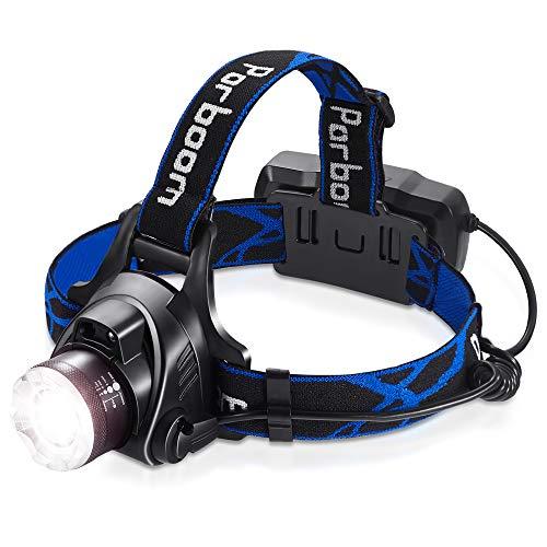 Parboom Linterna frontal LED recargable con USB, IPX5, 4 modos y cinta ajustable, ideal para camping, pesca, escalada, senderismo