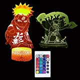 HConce New Cool Naruto Anime Uzumaki Naruto 3D LED Night Light Remote Control Desk Lamp Christmas Gifts Bedroom Home Decoration Kid Toys Boy Gifts(2 Pattern,1 Base)