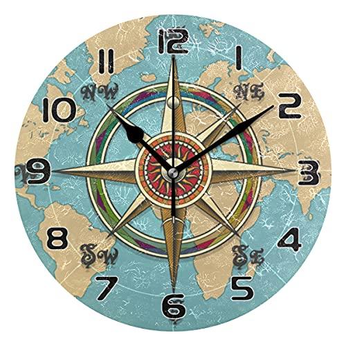 COZYhome - Reloj de pared moderno con brújula y mapa del mundo, reloj de pared redondo, silencioso, no hace tictac, funciona con pilas, para sala de estar, dormitorio, cocina, oficina, escuela