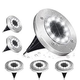 Lampe Solaire Extérieur, Lumière Solaire Jardin 12 LEDs Au Sol Eclairage 6000K Blanc Froid Etanche IP65 Lampe Solaire…