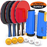 NIBIRU SPORT Professional Ping Pong Paddle Set with Retractable Net (Bracket Clamps), Balls, and...