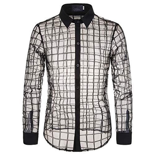 Camisas Transparente Hombre Camisa de Malla a Cuadros Slim Fit Top de Discoteca Personalidad de los Hombres con Pequeño Floral Blusa Fiesta Cosplay liquidación Yvelands