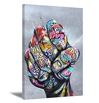 Classic Street Art Graffiti Hand Painting Canvas Wall Art Graffiti Wall Art Fingers and Fists Canvas Artwork Abstract Colorful Canvas Print Wall Pictures for Living Room Decor  No Frame