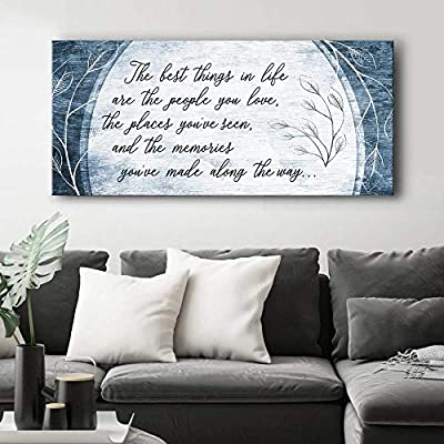 Sense of Art | The Best Things in Life are The People You Love Quote | Wood Framed Canvas | Ready to Hang Family Wall Art for Home and Bedroom Decoration by Sense of Art
