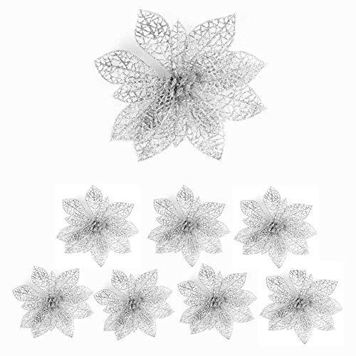 8PCS Christmas Large Glitter Poinsettia,Poinsettia Artificial Flowers,Xmas Poinsettia Decorations Glitter Artificial Christmas Flowers for Flower Tree Hanging Party Xmas Decor Wreath Garland Filler