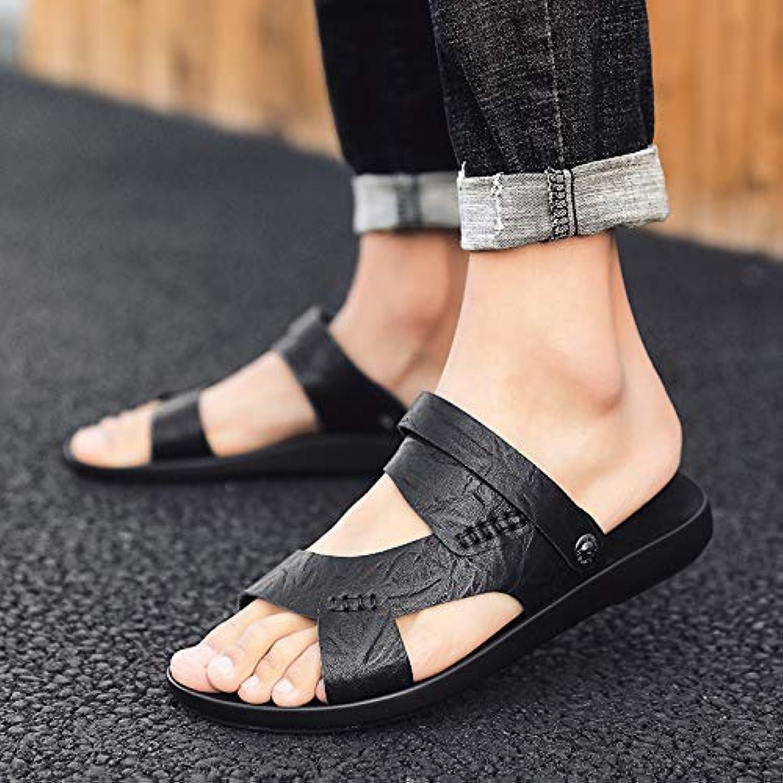 SHENBEIK Men'S Flip Flops White Slippers Men'S Leather Sandals Wear Flip Flops Personality Beach Male Drag Summer Dual Use Anti Slip Sandals And Slippers