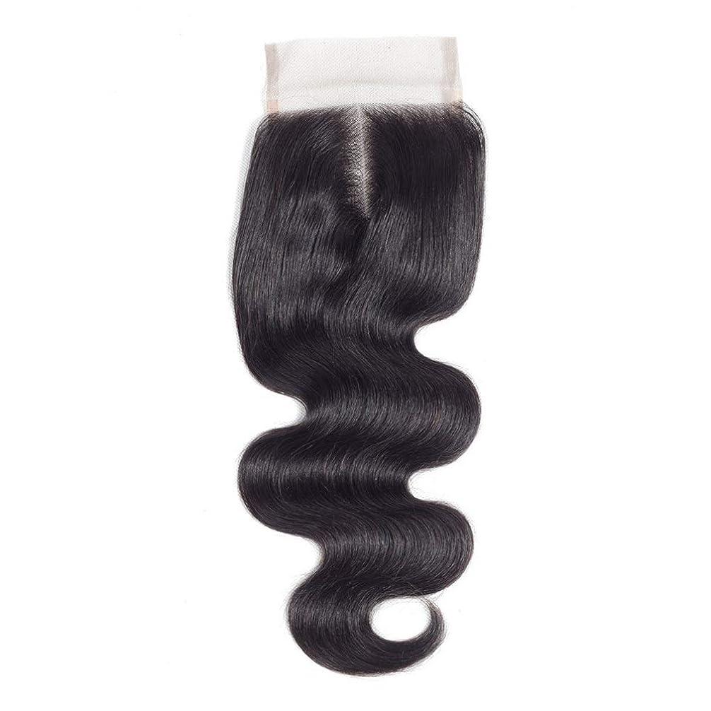 収まる衣服うがい薬BOBIDYEE ブラジルの実体波女性のリアルヘア4x4レース前頭閉鎖中間(8インチ-20インチ)ロングカーリーウィッグビッグウェーブウィッグ (色 : 黒, サイズ : 18 inch)