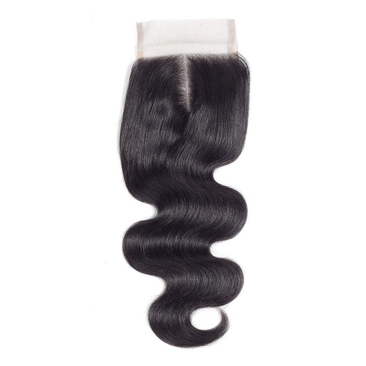 浸す代わりに寸法YESONEEP ブラジルの実体波女性のリアルヘア4x4レース前頭閉鎖中間(8インチ-20インチ)ロングカーリーウィッグビッグウェーブウィッグ (色 : 黒, サイズ : 16 inch)