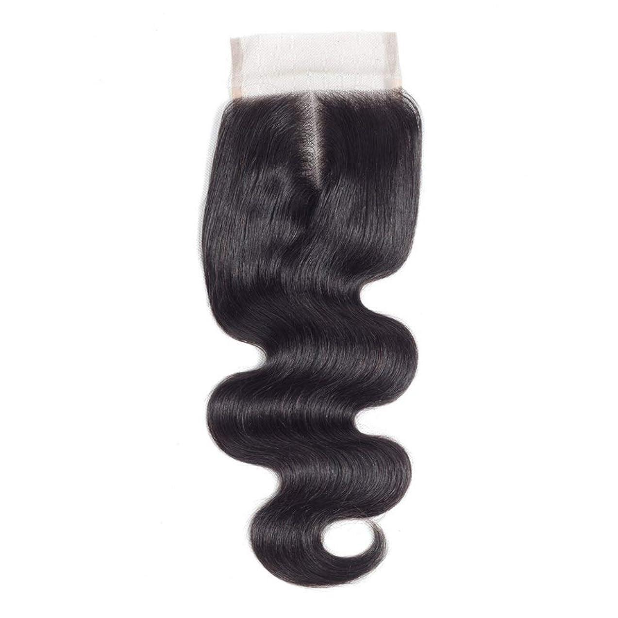 不名誉な空洞応用YESONEEP ブラジルの実体波女性のリアルヘア4x4レース前頭閉鎖中間(8インチ-20インチ)ロングカーリーウィッグビッグウェーブウィッグ (色 : 黒, サイズ : 16 inch)