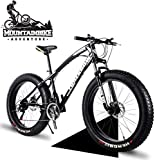 24 Inch Mountain Trail Bike with Fat Tire Adults Men Women Hardtail Mountain Bikes with Front Suspension Mechanical Disc Brakes Anti-Slip Carbon Steel Mountain Bicycle White 7 Speed-7 Speed_Black