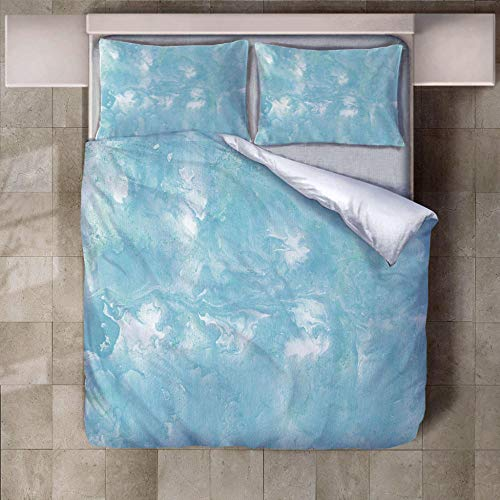 JNBGYAPS 3D Effect Printed duvet cover Light blue moire Bedding set with Pillocases (with Zipper Closure) Soft Microfiber Quilt Cover Single135X200cm
